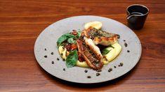John Dory with Caponata and Dutch Cream Mash Recipe John Dory Fish, Masterchef Recipes, Eggplant Caponata, Potato Ricer, Mash Recipe, Creamy Mash, Mini Foods, Salted Butter