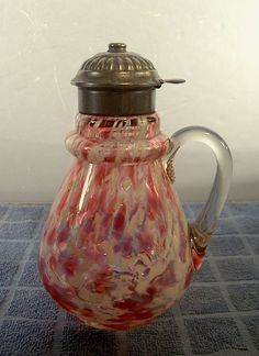 Rare Glass | Details about Antique Cranberry SPATTER GLASS Syrup Pitcher