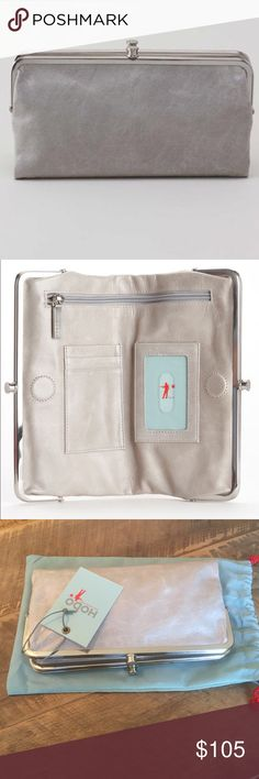 """Beautiful Cloud Color Hobo Wallet I love these wallets! Color is """"Cloud"""" with silver hardware. This one has never been used and has been kept in the bag. Beautiful grey color that will work all year round.  HOBO Bags Wallets"""