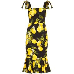 Dolce & Gabbana Lemon-print fluted-hem straps dress (6.875 BRL) ❤ liked on Polyvore featuring dresses, black yellow, mid calf dresses, yellow dress, strappy dress, midi dress and lemon print dress