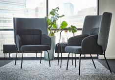 BINGSTA High-back armchair, Vissle dark grey/Kabusa dark grey. With its curved and embracing back panel, BINGSTA armchair allows you to have well-needed me time in a private nook – even in open-plan environments. Ikea Armchair, Gray Armchair, High Back Armchair, Fabric Armchairs, Living Room Seating, Polyurethane Foam, Open Plan, Nook, Cleaning Wipes