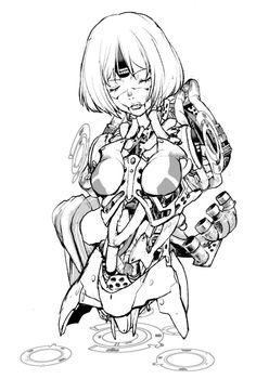 Cyberpunk Kunst, Cyberpunk Girl, Arte Robot, Robot Art, Art Et Illustration, Character Illustration, Character Design Animation, Character Art, Manga Art