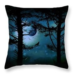 The Edge of Twilight  Throw Pillow by Micki Findlay - TheSingingPhotographer.com - various sizes, home decor, cushion, birds, moonlight, trees, night scene, art, eerie