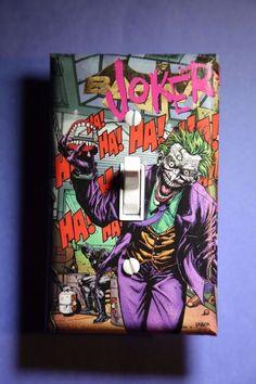 Joker Light Switch Cover comic book room home decor Batman DC cave hahaha