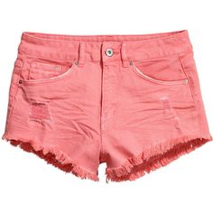 H&M Twill shorts High waist ($11) ❤ liked on Polyvore featuring shorts, coral, highwaist shorts, h&m, twill shorts, short shorts and high-waisted shorts