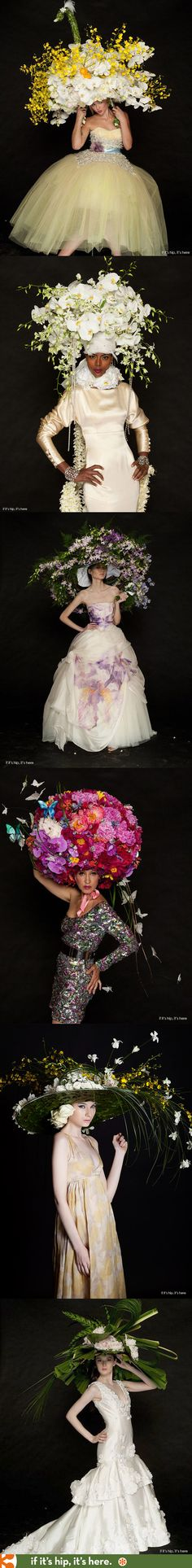 Spectacular Easter Bonnets designed by florists using thousands of real flowers.