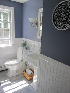 Would make a pretty guest bathroom color. Bathroom color and beadboard Downstairs Bathroom, Bathroom Renos, Bathroom Ideas, Remodel Bathroom, Bathroom Remodeling, Master Bathroom, White Bathroom, Blue Bathrooms, Bathroom Wall