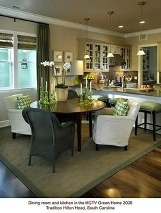table in alcove and breakfast bar