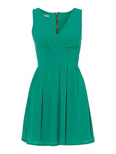 Wrap Front Waisted Dress