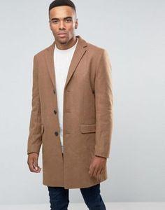 New Look Wool Overcoat in Camel