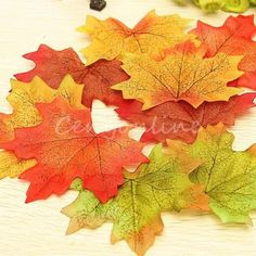 "50pcs Autumn Fall Leaf Artificial Short Stems Foliage Wedding Crafts Decor Silk | eBay 7.67 ש""ח משלוח חינם Wedding Crafts, Wedding Favors, Leaf Garland, Wedding Scrapbook, Garden Art, Autumn Leaves, Wedding Dresses, Tela, Falling Leaves"