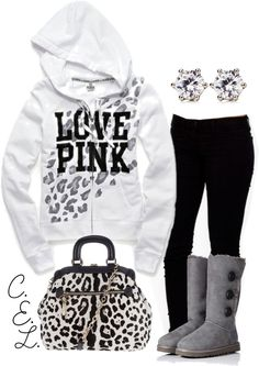 Black Leggings, A White & Black Leopard Print Love Pink Sweatshirt, & Tall Gray Buttoned UGG Boots.♥ This outfit was MADE for ME!! LOVE! ~Jennifer