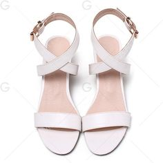 Mid Heel Buckle Strap Sandals ($26) ❤ liked on Polyvore featuring shoes, sandals, gamiss, flats, flat shoes, flat heel shoes, white flat shoes, white mid heel sandals and white shoes