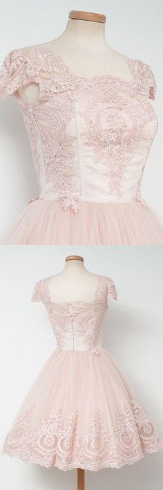 2016 homecoming dress,vintage homecoming dress,short homecoming dress,pink homecoming dress,tulle homecoming dress,homecoming dress with appliquies