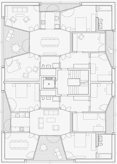 Wohnhäuser Schönberg-Ost, Bern | Esch Sintzel Architekten plan vorm ruimteschakeling terras inpandig