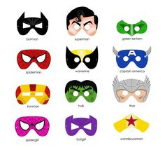 Printable super hero masks. For puppet theatre/role playing