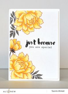handmade card Peony Bouquet ... yellow with black and white ... luv the coloring ... Altenew