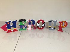 Superhero/Marvel Personalised Freestanding MDF Wooden Letters Character Letters, Superhero Birthday Party, Create Words, Wooden Letters, Disney Cruise, Projects To Try, Im Not Perfect, Hand Painted, Make It Yourself