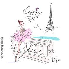 Illustration Parisienne, Paris Illustration, Illustration Sketches, Illustrations, Illustration Photo, Pretty Drawings, Art Drawings, Ballet Art, Girl Sketch