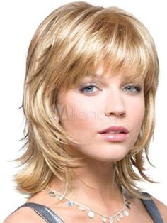 Mix Blonde Gold Synthetic Straight Hair Wigs Fashion Short Wig For Woman #new #FullWig