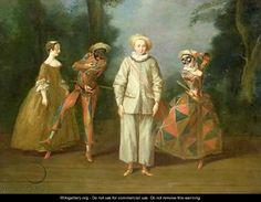 Pierrot and Harlequin   by Philipe Mercier