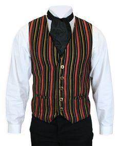 Gatsby Vest - Black/Orange Stripe