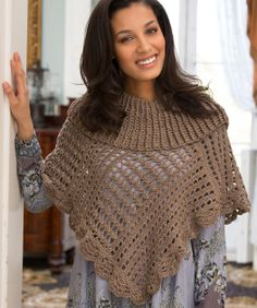 Toasty Poncho Free Crochet Pattern from Red Heart Yarns