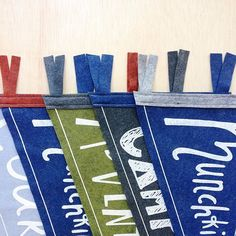 5 Little Custom Pennants all in a row This collection of @strawberrymoth custom-colored pennants flags are headed to their new homes today! We just love seeing the color combos our customers come up with to coordinate with their kiddos rooms (our 5th grade art teacher, Mrs. Hagood would be quite proud.)! #pennantflag #happycustomer #strawberrymoth