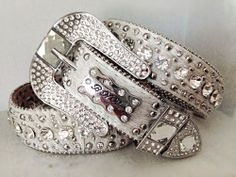 "S M L 1"" Western BHW Hair Leather White Rhinestone Crystal Cowgirl Bling Belt #BHW"