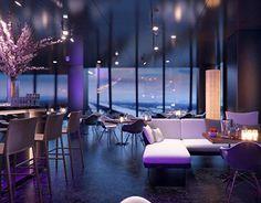 Restaurant floor DC tower Vienna for urban developer WED. Luxury Restaurant, Hotel Interiors, 3d Visualization, Vienna, Tower, Loft, Flooring, Furniture, Behance