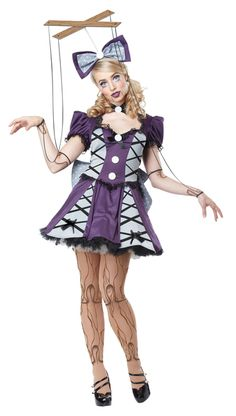 """Looking for: Strings attached. Includes dress, petticoat, printed tights, headband with attachment, head bow, choker, back bow and marionette top with strings, Paint on a few wooden details on your arms and wrists for some real puppet-like """"skin."""" #yyc #Calgary #costume #ivegotnostringsonme #Pinocchio #puppet"""