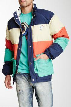 Long Sleeve Stripe Puffer Jacket by Billionaire Boys Club on @HauteLook