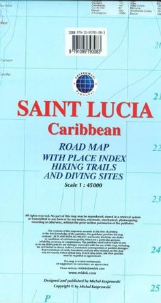 Saint Lucia, Caribbean, Road map by Kasprowski Publisher