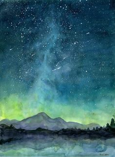 Starry Sky Print Watercolor Painting Print Starry Night by 324art