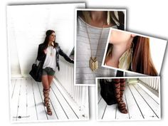 New Outfit of the Day (ootd) on the blog www.FashionetteTS.com.  Gladiator sandals, khaki shorts, XL t-shirt, oversize, leather jacket, shopper, feathers, H&M, Michael Kors, Mango, Forever 21, blogger, fashion, look, style, fall, autumn, summer, casual, sexy, stylish, outfit, laceup sandals, shoes, bags.