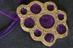 Handmade metal clay bronze / copper pendant with purple /