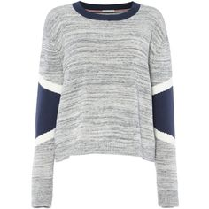 Tommy Hilfiger Panel Knit Sweater ($110) ❤ liked on Polyvore featuring tops, sweaters, grey, women, gray knit sweater, gray top, loose fitting tops, knit top and grey top