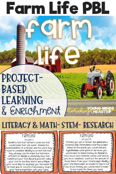 These Farm Life themed project-based learning and enrichment projects put ownerhsip of learning into your student's hands and enrich your students through independent work study. Engage your classroom during your farm unit with these ten printables that h