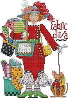 0 point de croix femme shopping tissus - cross stitch lady shopping fabrics