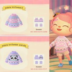Inspired by the pastel adele knitwear sweaters Animal Crossing Qr Codes Clothes, Animal Crossing Game, Cute Designs, Panda, Custom Design, Pokemon, Childhood, Geek Stuff, Winter Shirts