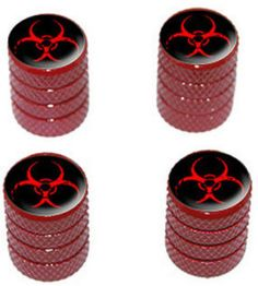 """Amazon.com : (4 Count) Cool and Custom """"Diamond Etching Biohazard Symbol Top with Easy Grip Texture"""" Tire Wheel Rim Air Valve Stem Dust Cap Seal Made of Genuine Anodized Aluminum Metal {Furious Subaru Red and Black Colors - Hard Metal Internal Threads for Easy Application - Rust Proof - Fits For Most Cars, Trucks, SUV, RV, ATV, UTV, Motorcycle, Bicycles} : Sports & Outdoors"""