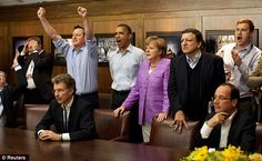 The cheers and the tears: Prime Minister David Cameron (fourth left) celebrates while watching Chelsea beat Bayern Munich in the Champions League final alongside a rather glum German Chancellor Angela Merkel (centre)  http://www.dailymail.co.uk/news/article-2147076/Cameron-celebrates-Chelseas-Champions-League-win-Obama-Angela-Merkel-G8-summit.html