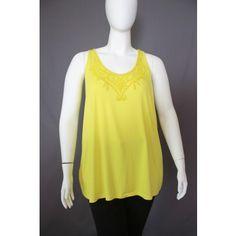 Lane Bryant yellow beaded top, size 3X