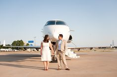Jetsetters on a private jet - Engagement Session Dallas