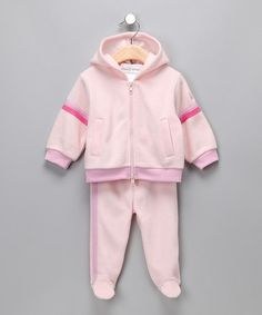 Take a look at this Pink 'Stinky' Zip-Up Hoodie & Footie Pants - Infant by Rumble Tumble on #zulily today!
