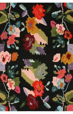 nuLOOM Handmade Flatweave Kilim Floral Rug - Overstock™ Shopping - Great Deals on Nuloom - Rugs Textiles, Textile Patterns, Floral Patterns, Textile Prints, Floral Motif, Contemporary Rugs, Modern Rugs, Flor Rug, Eclectic Rugs