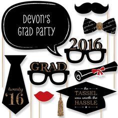 20 graduación foto Booth Props 2016 Kit oro por BigDotOfHappiness