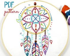Dreamcatcher Hand Embroidery PDF Pattern Boho Indian Summer