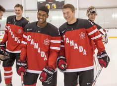 Team Canada dman Samuel Morin (left to right), forwards Anthony Duclair and Curtis Lazar, and goaltender Zach Fucale smile before a World Jrs exhibition game last weekend in Toronto. AP PhotoThe Canadian Press, Frank Gunn  Great Team Canada video on their journey!!!