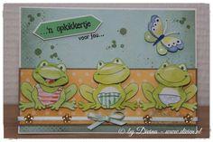 3 Opkikker kaartje, gemaakt met Marianne Design materiaal / 3 Feel better soon card, made with Marianne Design material
